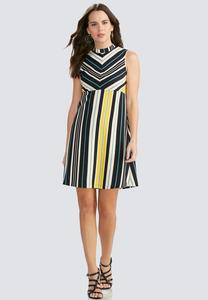 Mitered Stripe Bodice A-Line Dress