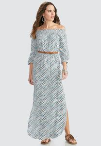 Belted Off the Shoulder Striped Maxi Dress-Plus