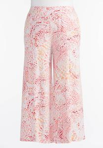 Abstract Extreme Wide Palazzo Pants- Plus