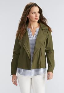 Asymmetrical Zip Twill Jacket- Plus