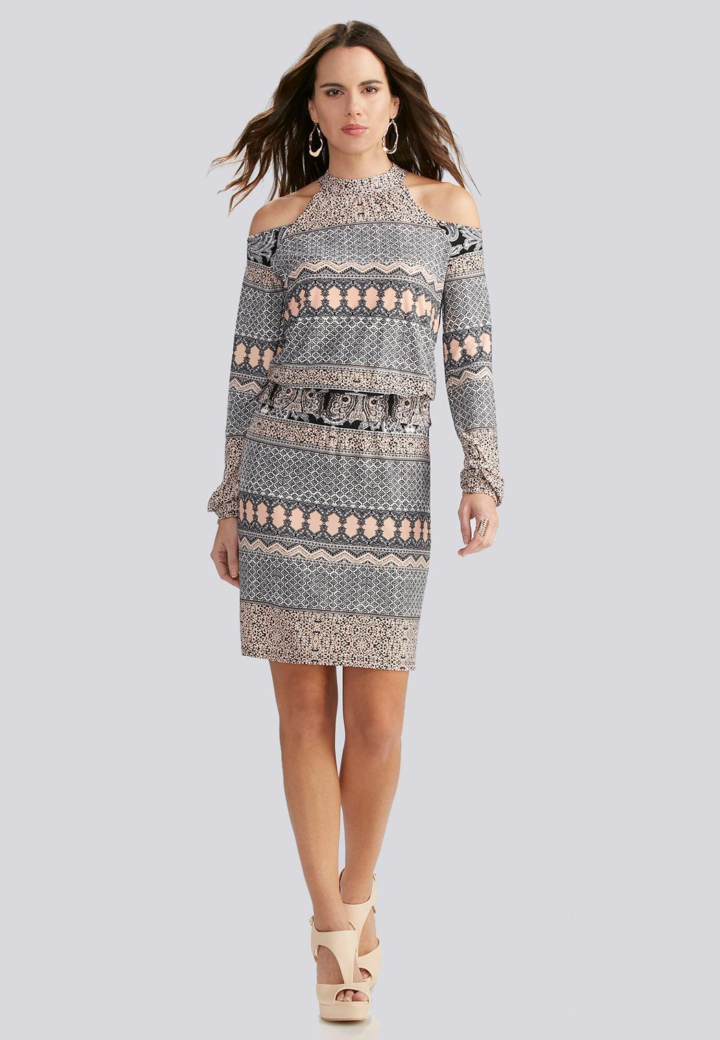 Mixed Stripe Cold Shoulder Blouson Dress-Plus Plus Sizes | Cato ...