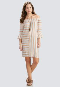 Striped Off the Shoulder Asymmetrical Dress-Plus