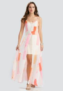 Block Striped Flyaway Maxi Dress-Plus