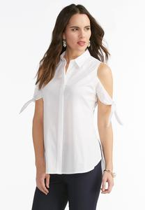 Tie Cold Shoulder Button Down Shirt-Plus