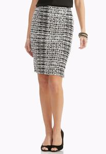 Graphic Side Zipper Midi Skirt