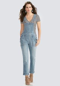 Cuffed Girlfriend Denim Overalls