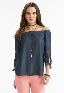 Off the Shoulder Chambray Poet Top-Plus