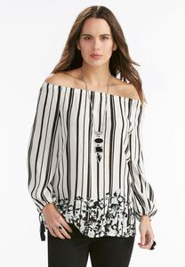 Mixed Print Off the Shoulder Poet Top-Plus