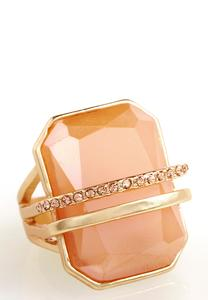 Double Bar Stone Statement Ring