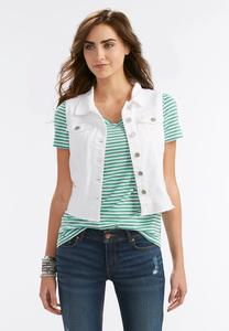 Frayed White Denim Vest-Plus