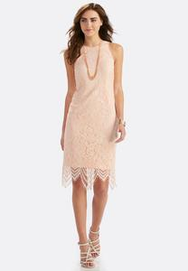 Scalloped Lace Midi Dress-Plus