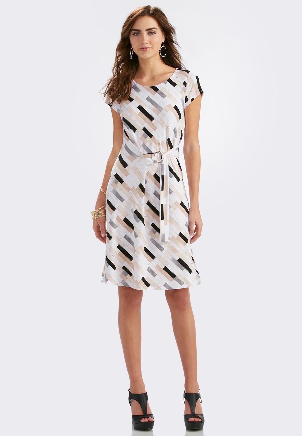 block striped wrap dress