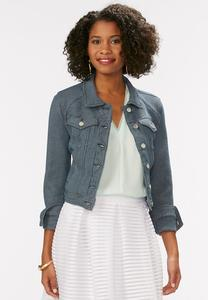 Textured Denim Jacket-Plus