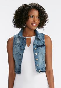 Distressed Denim Crop Vest-Plus