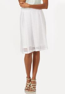 Shadow Striped Pleated A-Line Skirt-Plus