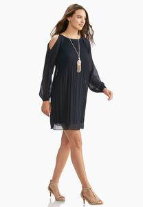 Pleated Cold Shoulder Swing Dress