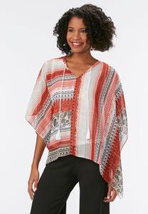 Havana Striped Tasseled Poncho Top-Plus