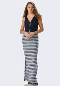 Cross Front Striped Maxi Dress