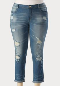 Destructed Ankle Skinny Jeans-Plus