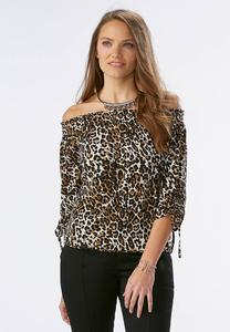 Printed Drawstring Sleeve Off the Shoulder Top