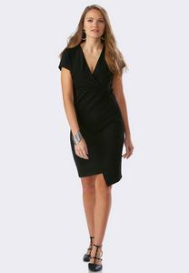 Ribbed V-Neck Asymmetrical Dress-Plus