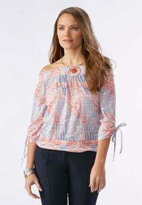Printed Drawstring Off the Shoulder Top-Plus