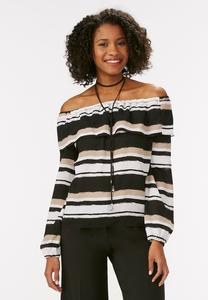Striped Ruffle Off The Shoulder Blouse-Plus