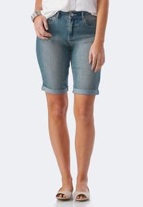 Sequin Chevron Bermuda Jean Shorts