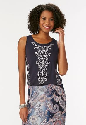 Botanical Embroidered Tank- Plus