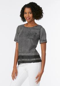 Release Hem Chambray Top-Plus