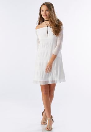 Striped Off the Shoulder Shift Dress-Plus Plus Sizes Cato Fashions