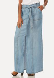 Slit Front Chambray Maxi Skirt-Plus