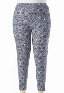 Medallion Tile Crop Leggings-Plus
