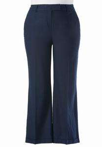Cuffed Wide Leg Linen Pants-Plus