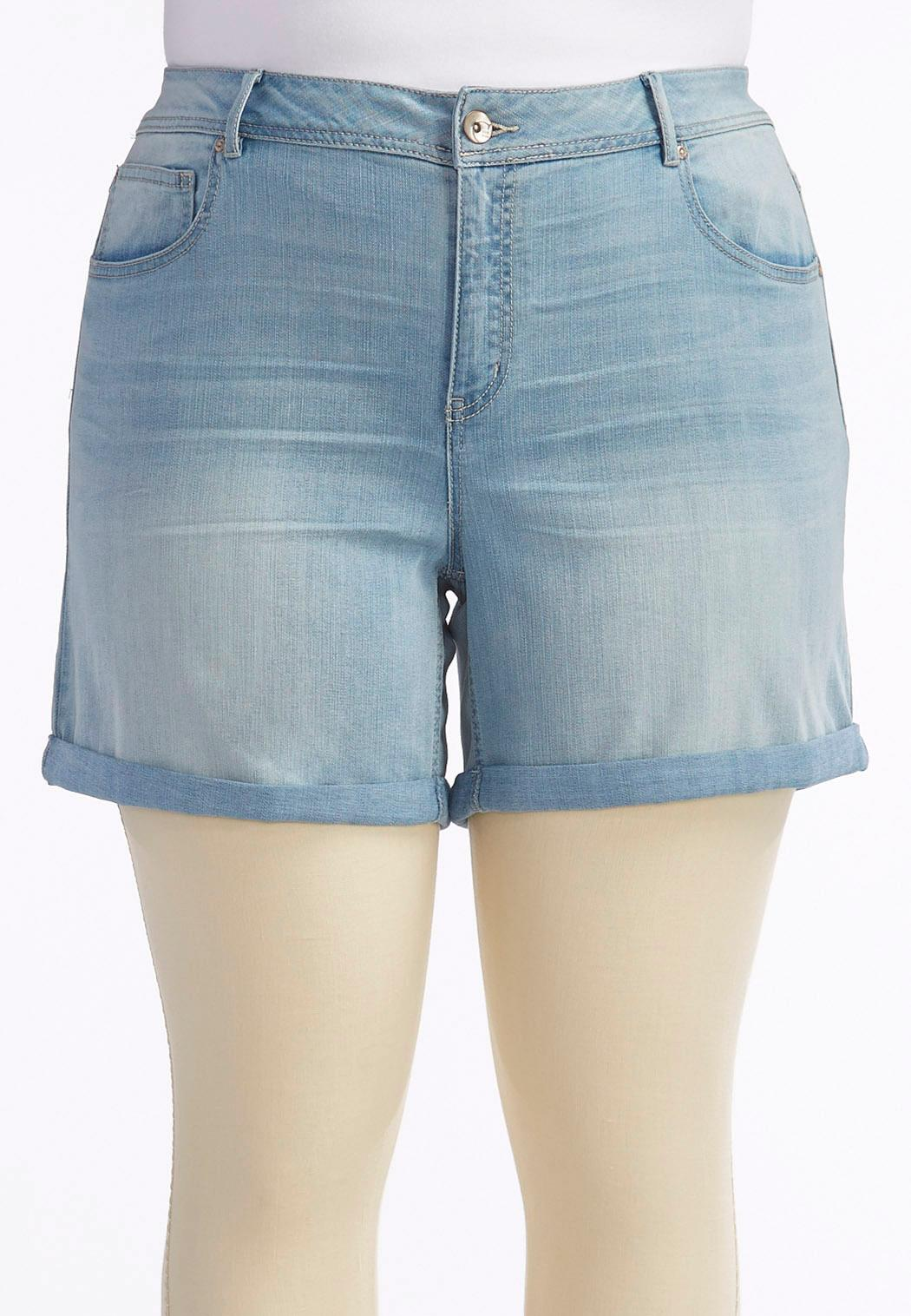 Cuffed Jean Shorts-Plus Shorts & Crops Cato Fashions