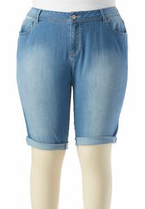 Cuffed Bermuda Shorts-Plus