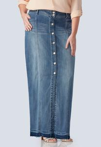 Button Front Denim Maxi Skirt-Plus