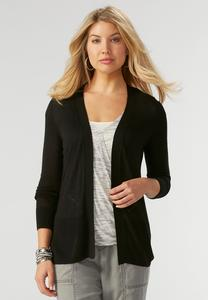 Pointelle Striped Open Cardigan-Plus