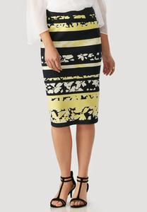Floral Splice Striped Midi Skirt