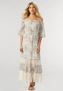 Wild Meadow Off the Shoulder Maxi Dress-Plus