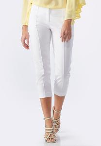 Pintucked Seam Sateen Crop Pants