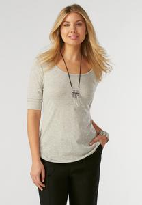 Raw Edge Slub Knit Top-Plus