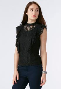 Ruffled Lace Mock Neck Top-Plus