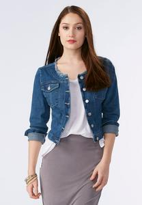 Frayed Collarless Denim Jacket-Plus