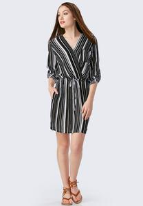 Striped Drawstring Shirt Dress-Plus