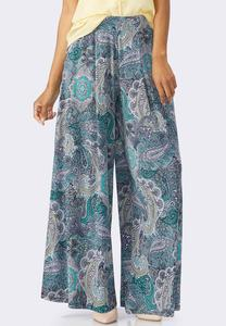 Blocked Paisley Wide Palazzo Pants