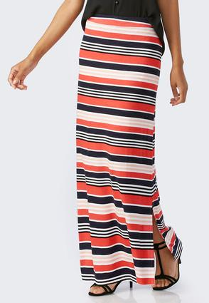 Graphic Striped Maxi Skirt