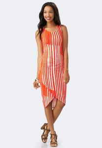 Broken Striped Tulip Hem Sheath Dress