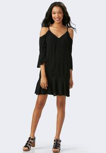 Flounced Cold Shoulder Swing Dress-Plus