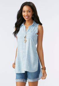 Frayed Chambray Windowpane Tunic
